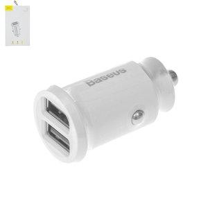 Автомобильное зарядное устройство Baseus C8 K, 12 В, 2 USB выходы 5В 3.1А , белое, #CCALL ML02
