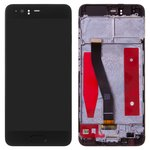 LCD compatible with Huawei P10, (black, with touchscreen, with frame, Original (PRC), VTR-L29/VTR-L09)